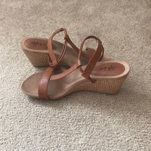Brown wedge sandals, size 5